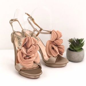 BADGLEY MISCHKA Satin Platform T-Strap Heel Sandal
